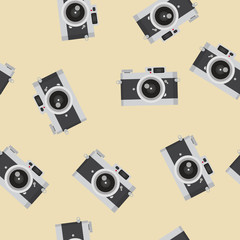 Flat design vector vintage camera  pattern