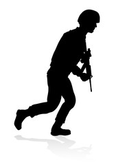 Soldier Military Detailed Silhouette
