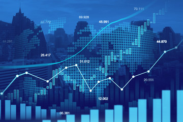 Stock market or forex trading graph in graphic double exposure