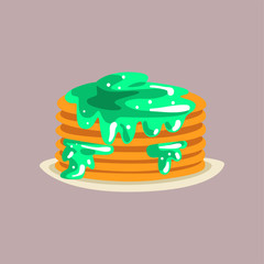 Fresh tasty pancakes with jam on a plate, traditional breakfast food vector Illustration