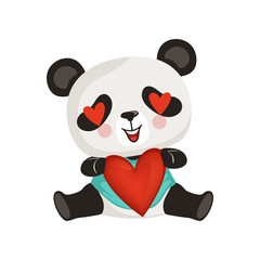 Adorable panda holding red heart. Cute enamored bamboo bear. Cartoon exotic animal. Flat vector design for greeting card, sticker or print