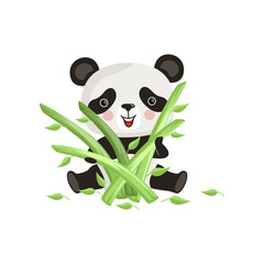 Cute panda sitting on floor and holding green bamboo sticks. Cartoon character of tropical animal. Flatvector design for print or sticker