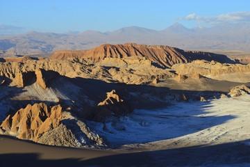 Valley of the Moon, Valle de la Luna with volcano Licancabur on the horizon, San Pedro de Atacama, Antofagasta, Chile, South America