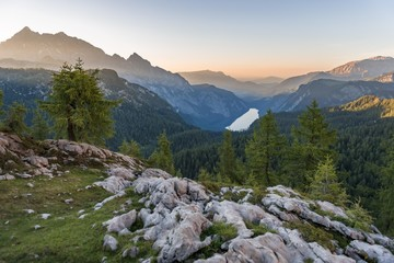 Panorama, view over the Konigsee from the Feldkogel, left Watzmann Sudspitze and Watzmann-Kinder, sunset, National Park Berchtesgaden, Berchtesgadener Land, Upper Bavaria, Bavaria, Germany, Europe