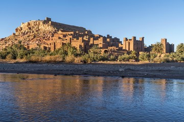Asif Mellah River and Kasbah Ait-Ben-Haddou, Ouarzazate Province, Souss-Massa-Draa, Morocco, Africa