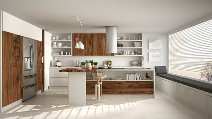 Modern kitchen with classic wooden fittings and panoramic window, white minimalistic interior design