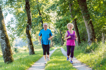 Poster Jogging Full length front view of two active seniors with a healthy lifestyle smiling while jogging together outdoors in the park
