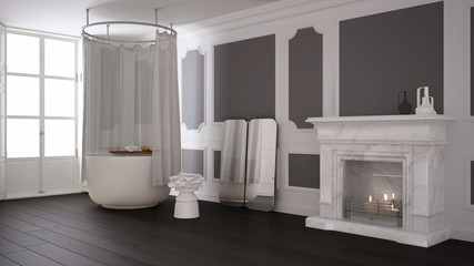 Vintage bathroom in classic space with old fireplace and parquet floor, modern interior design