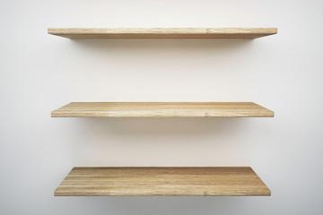 wood shelf on white wall