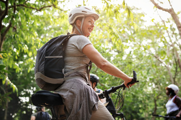 Happy woman on her bicycle