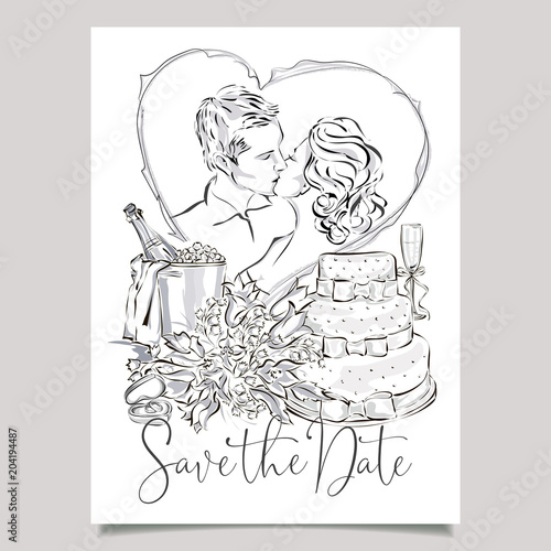 Wedding Greeting Card With Bride And Groom Cake Champagne