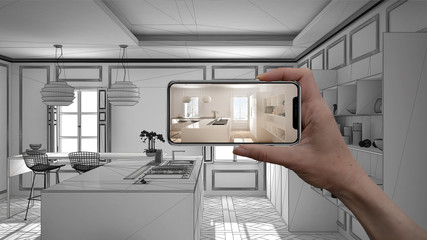 Hand holding smart phone, AR application, simulate furniture and interior design products in real home, architect designer concept, sketch project background, modern kitchen