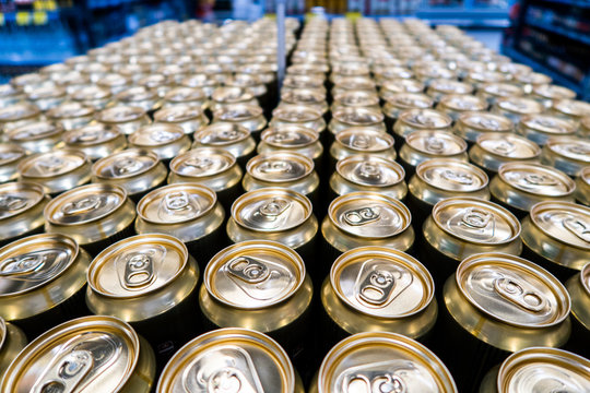 Aluminium cans. Top view. Aluminum cans in the market.