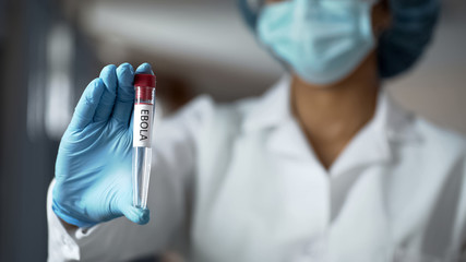 Scientist holding ebola vaccine liquid in test tube, biochemistry experiment