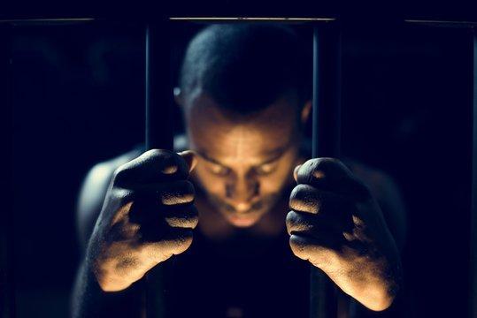 African descent man in prison