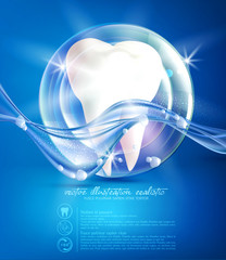 Vector, abstract illustration on a medical theme: white tooth in a bubble on a blue background. Element for design, advertising, promotion