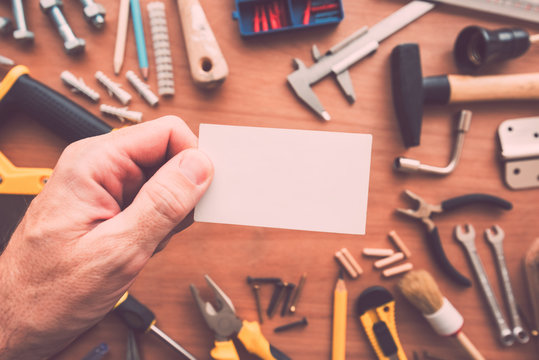 Handyman blank business card as copy space