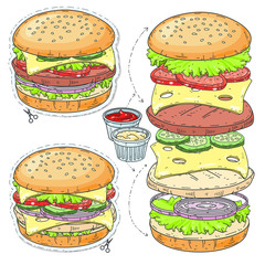 Vector sticker icon. Cartoon tasty big hamburger with cheese and sesame seeds.