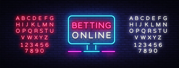Betting Online neon sign. Gambling slogan, Casino, Betting design element, Night neon signboard. Vector illustration. Editing text neon sign