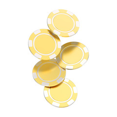 3D illustration isolated group of gold casino chips