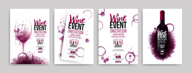 Collection of templates with wine designs. Brochures, posters, invitation cards, promotion banners, menus. Wine stains background. Wall mural