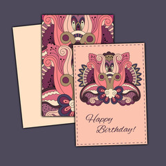Vector set of birthday card abstract hand drawn doodles