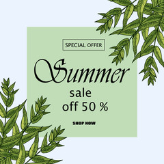 Green botanical summer tropical sale flyer with palm leaves and exotic plants.