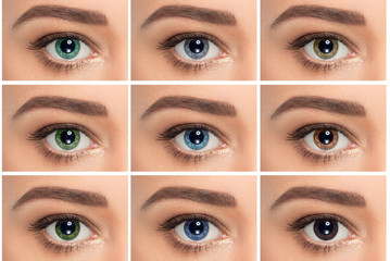 close up,collage of eyes with different color, green, gray and blue color shade on color contact lenses on human eye