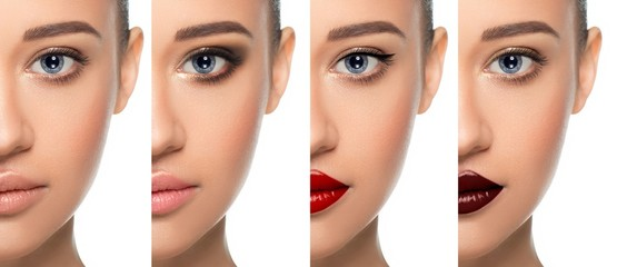 Set or collage different types of makeup on one woman face close-up. variations of trendy make-up, for a modern young woman