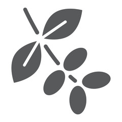 Coffee tree branch glyph icon, coffee and cafe, nature sign vector graphics, a solid pattern on a white background, eps 10.