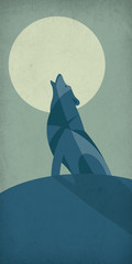 Illustration of a lonely wolf howling in the night in front of the moon