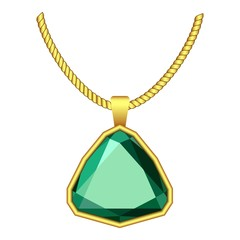 Emerald jewelry icon. Realistic illustration of emerald jewelry vector icon for web design isolated on white background
