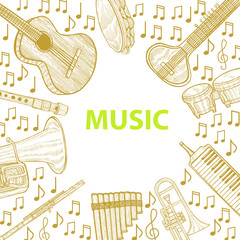 Musical Instruments Template in Hand Drawn Style