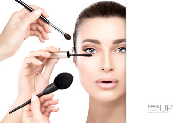 Beauty concept with makeup and cosmetics brushes