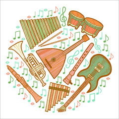 Musical Instruments Round Composition in Hand Drawn Style