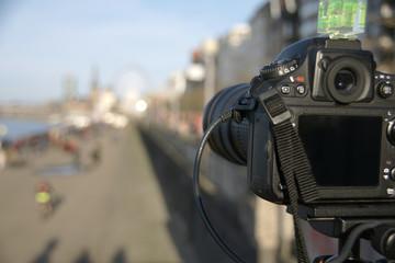 A Professional digital camera on tripod
