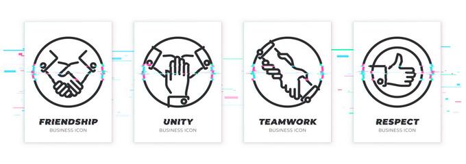 Glitched handshake, teawork, assistance, like icons set.