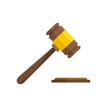 Auction gavel icon. Flat illustration of auction gavel vector icon for web