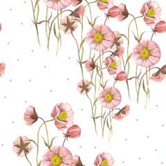 Seamless pattern Wild flower. Watercolor floral illustration. Botanical decorative element. Flower concept. Botanica concept.