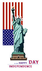 Independence Day. Portrait. Statue of Liberty. US flag. During the celebration of the Day. July 4.Flat banner.3D font letters. red, dark blue. Color illustration on a white background, postcard,flyer
