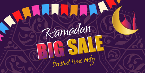 Ramadan Big Sale. Design horizontal web banner with beautiful crescent moon and color flag in golden and violet color. Vector Illustration for greeting card, flyer and voucher.