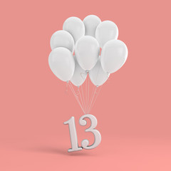 Number 13 party celebration. Number attached to a bunch of white balloons