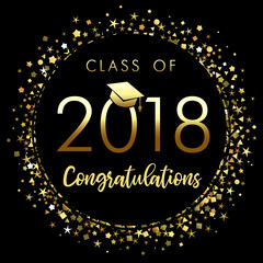 Class of 2018 graduation poster with gold glitter confetti. Class of 2018 congratulations design graphics for decoration with golden colored for design cards, invitations or banner