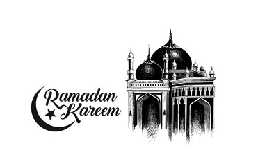 Ramadan Kareem Mosque or Masjid with calligraphy stylish lettering Ramadan Kareem text. vector illustration.