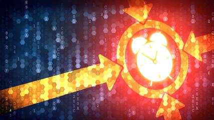 Time Concept: Alarm Clock - Sign on Dark Digital Background.