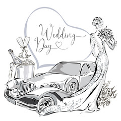 Wedding clipart set with beautiful bride, wedding limousine and champagne in ice bucket, black and white wedding greeting card or invitation template vector illistration
