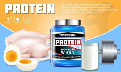 Protein products vector advertising template
