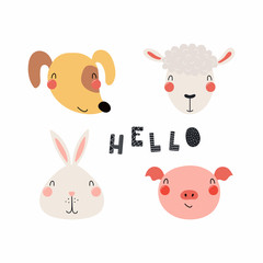 Wall Murals Illustrations Hand drawn vector illustration of a cute funny farm animal faces, with lettering quote Hello. Isolated objects. Scandinavian style flat design. Concept for children print.