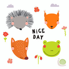 Hand drawn vector illustration of a cute funny forest animal faces, with flowers, butterflies, snail, lettering Nice day. Isolated objects. Scandinavian style flat design. Concept for children print.