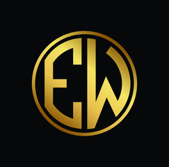 Initial letter EW, minimalist art monogram circle shape logo, gold color on black background